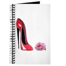 Red Stiletto Shoe & Pink Rose Journal