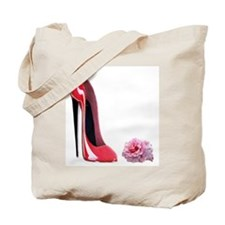 Red Stiletto Shoe & Pink Rose Tote Bag
