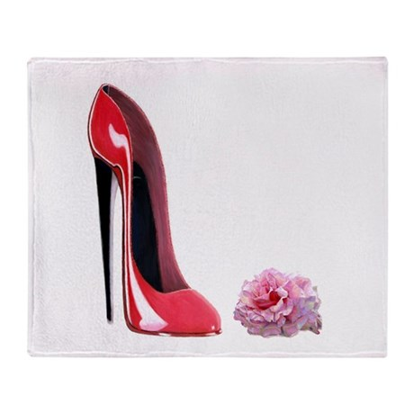 Red Stiletto Shoe & Pink Rose Throw Blanket