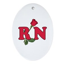 RN Nurses Rose Ornament (Oval)