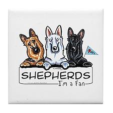 German Shepherd Fan Tile Coaster