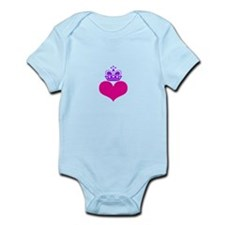 heart and crown (pink/purple) Infant Bodysuit