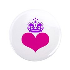 """heart and crown (pink/purple) 3.5"""" Button"""