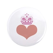 """heart and crown (rose/salmon) 3.5"""" Button"""