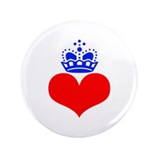 """heart and crown (red/blue) 3.5"""" Button"""
