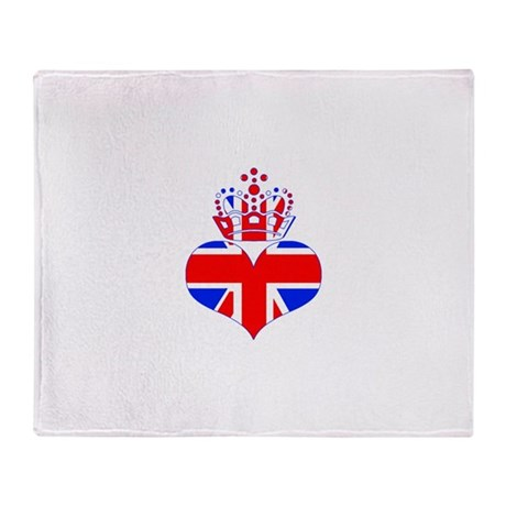 heart & crown (union jack) Throw Blanket