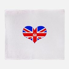 union jack royal heart Throw Blanket