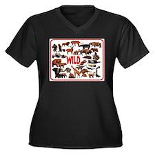 WILD THINGS Women's Plus Size V-Neck Dark T-Shirt