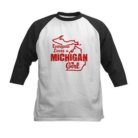 Everyone Loves a Michigan Girl Kids Baseball Jerse