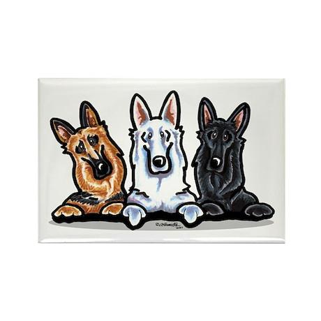 German Shepherd Trio Rectangle Magnet
