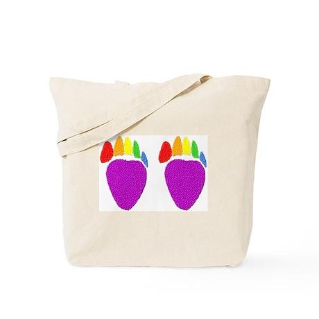 2 bear paws-rainbow- Tote Bag