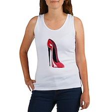 Black heel red stiletto shoe Women's Tank Top