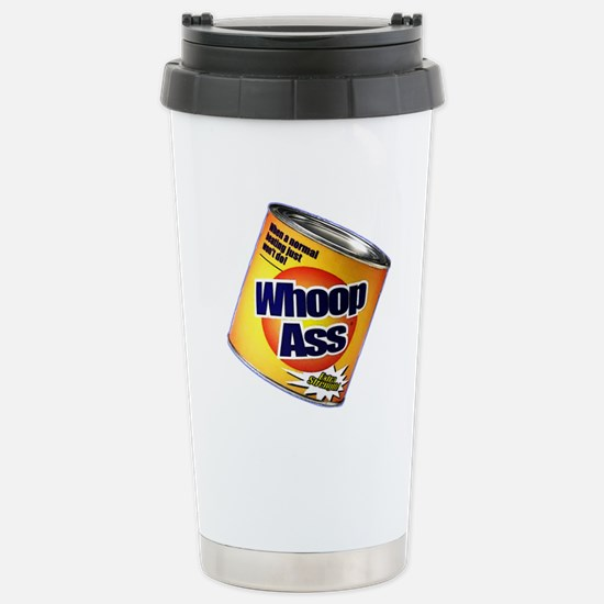 Funny Can Of Whoop Ass Stainless Steel Travel Mug
