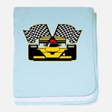YELLOW RACECAR baby blanket