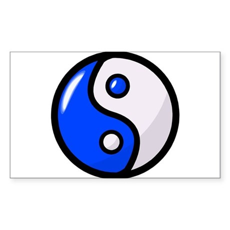 Glossy Blue Yin Yang Sticker (Rectangle 50 pk)