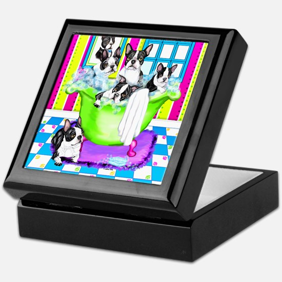 Boston Terrier TubFull Keepsake Box