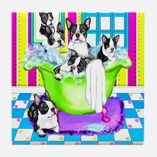 Boston Terrier TubFull Tile Coaster