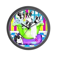 Boston Terrier TubFull Wall Clock