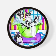 Boston Terrier TubFull Wall Clock