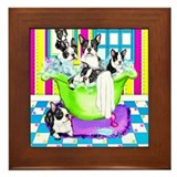Dog in tub Framed Tiles
