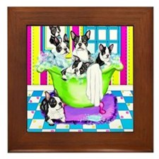 Boston Terrier TubFull Framed Tile