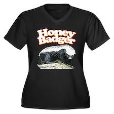 Honey Badgers Women's Plus Size V-Neck Dark T-Shir