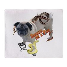Snakes on Pug Throw Blanket