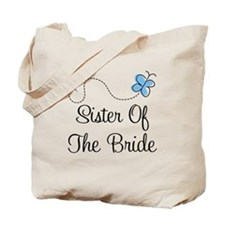 Sister of the Bride Blue Butterfly Tote Bag