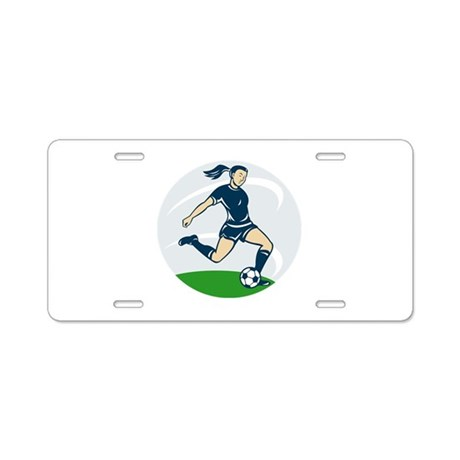 woman soccer player Aluminum License Plate
