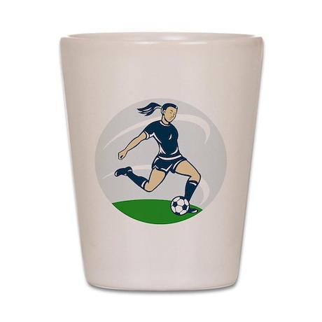 woman soccer player Shot Glass