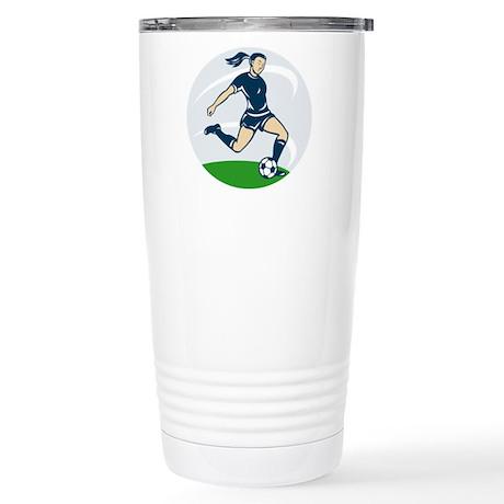 woman soccer player Stainless Steel Travel Mug