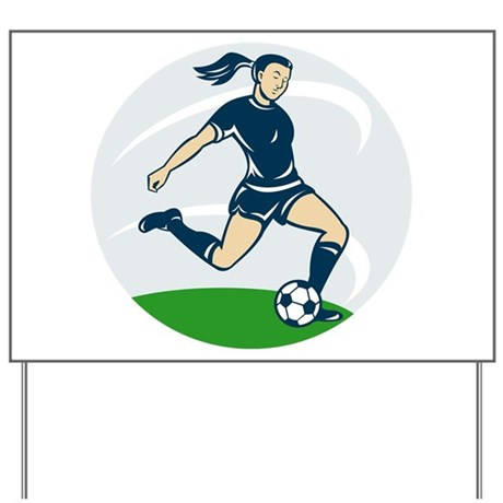 woman soccer player Yard Sign