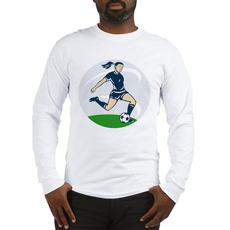 woman soccer player Long Sleeve T-Shirt