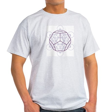 Ash grey T-shirt with dodecahedron