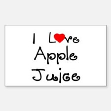 I Love Apple Juice Rectangle Decal
