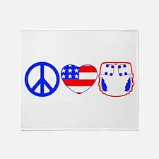 Peace, Love, Cloth Throw Blanket