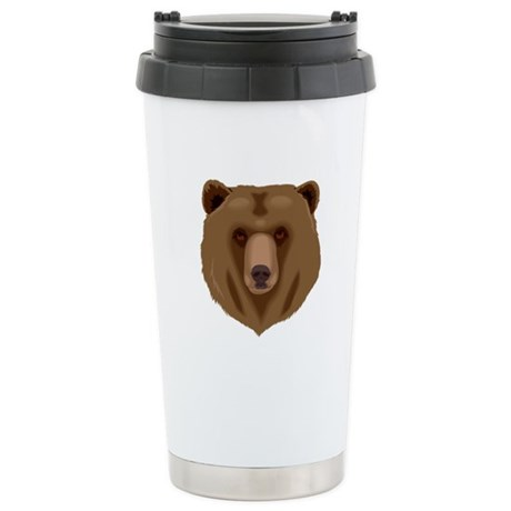 Brown Bear - Grizzly head Stainless Steel Travel M