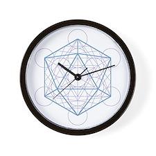 Wall clock with icosahedron