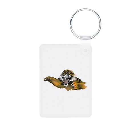 Attacking Tiger Aluminum Photo Keychain