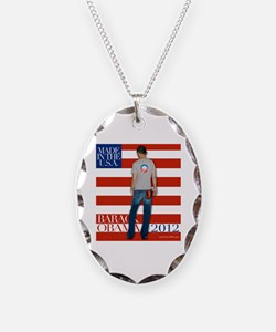 Obama: Born to RUN! Necklace Oval Charm