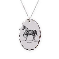 Morgan Horse Necklace Oval Charm
