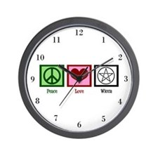 Peace Love Wicca Wall Clock