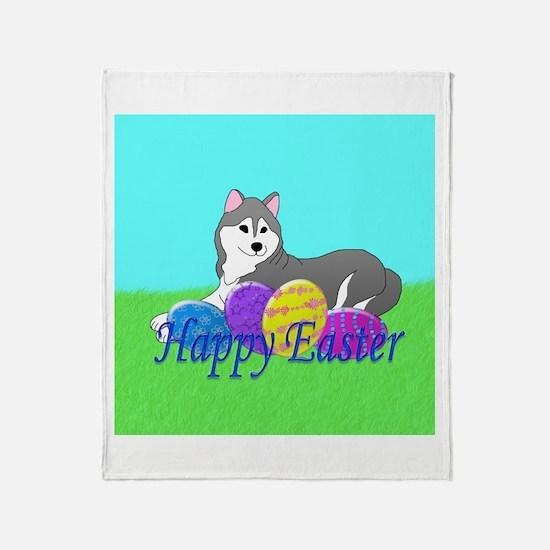 Gray Siberian Husky Throw Blanket