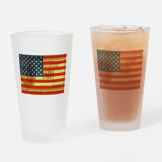 Flag with Hundred Dollar Bill Pint Glass