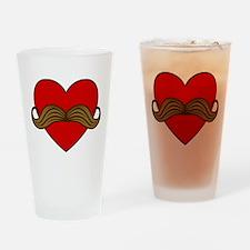 Moustache Valentine Heart Pint Glass