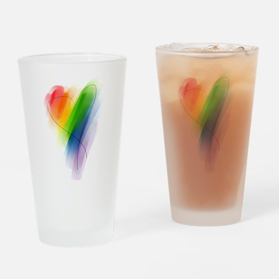 Rainbow Heart Pint Glass