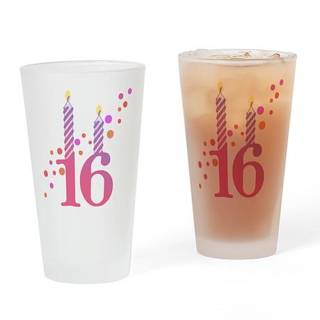16th Birthday Candles Pint Glass