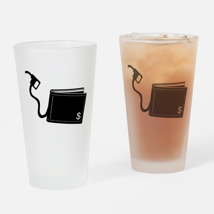 Gas Pumps Money out of Wallet Pint Glass