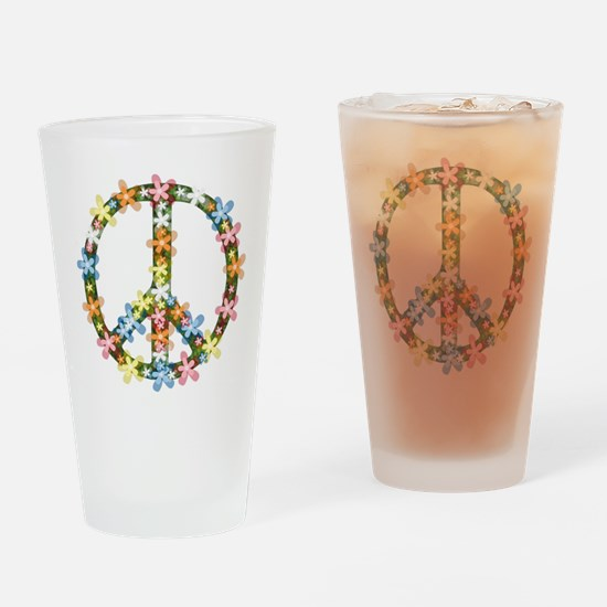 Peace Flowers Drinking Glass