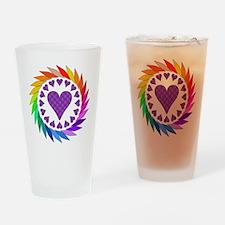 Rainbow Love Hearts Pint Glass